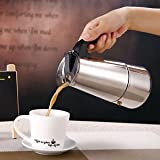 ELECTROPRIME 2-Cup Kitchen Cafe Moka Coffee Maker Latte Percolator Steel Stove Top Pot
