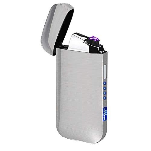 Elektronisches Feuerzeug Dual Arc Lighter LED USB Elektrisches Feuerzeug Plasma wiederaufladbar flammenlos winddicht Touch Switch Feuerzeug gut für Zigarren Zigarren Zigaretten Kerze Pfeife, Silver