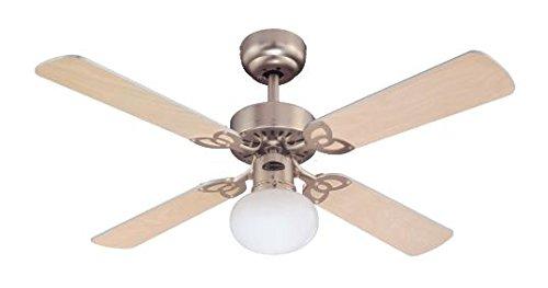 Westinghouse Ventilatore a Soffitto Vegas E27, 60 W, Finitura in Alluminio, Pale en Acero Chiaro/Argento