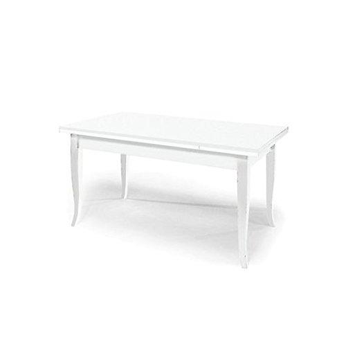 Table à rallonge, couleur blanc mat 120/200 x 80 cm, en bois massif laqué blanc - Voir photos