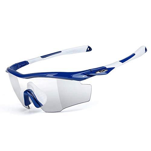 WOUX Fahren Reiten Objektiv Sonnenbrille Mit Für Motorrad Fahrrad Outdoor-Aktivitäten Sport Intelligente Brille (Color : Blue)