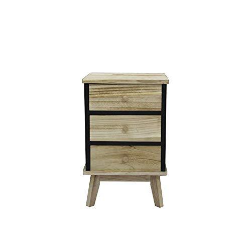 rebecca mobili comodino cassettiera legno chiaro nero stile industrial camera da letto soggiorno arredo casa - 57x37x32 (h x l x p) - art. re6085