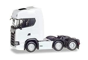 Herpa 307543Scania CS 20HD Tren eléctrica Vehículos en Miniatura, Color Blanco