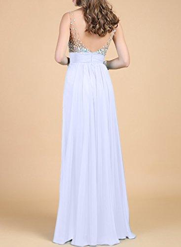 AZBRO Damen Blumen Spitze hohe-Taille Prom-Kleid Blue