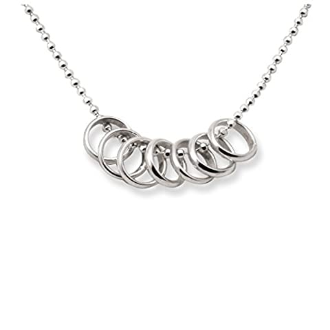 Sterling Silver 7 Seven Lucky Rings Necklace by Tales From