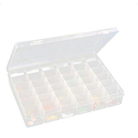 Zedtom Boîte de Rangement Bijoux Transparente en Plastique 36 Compartiments Amovibles
