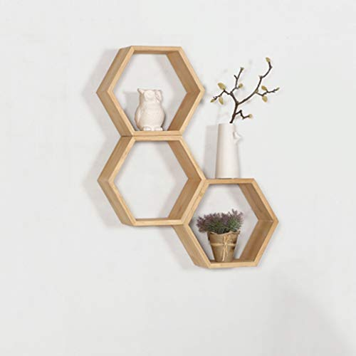 Mensola - una combinazione di telai esagonali arredate in modo semplice, parete in legno camera da letto soggiorno multifunzionale bagagli (color : wood color)