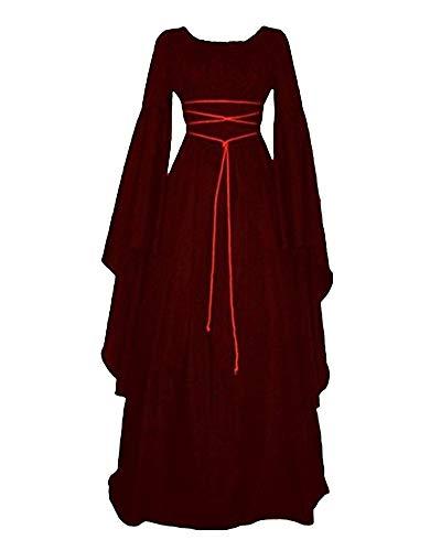 ShiFan Costume Médiévale Deguisement Femme Moyen Age Robe De Fete Manche Longue Vin Rouge L