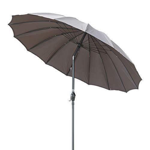 Angel living ombrello inclinato in alluminio da 2,7 m, parasole con manovella, montante in alluminio da 38 mm (grigio)
