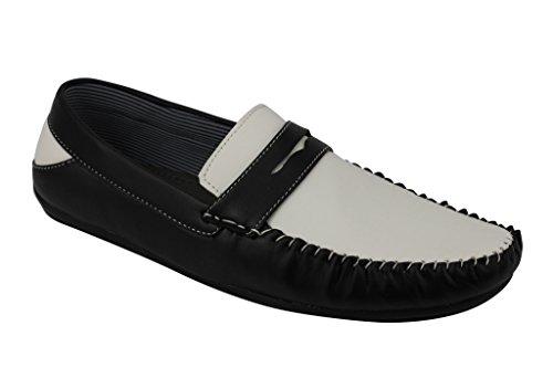 Homme Noir Brun Penny Flâneur Smart Casual Mocassin en simili cuir blanc antidérapant sur conduite Plat Chaussures Whiteblack
