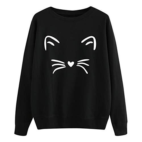 Junioren Waffel (Haughtily Frauen Nette Katze Gedruckt Tops, Herbst Winter Rundhals Langarm Pullover Pullover Beiläufige Regelmäßige Sweatshirt)