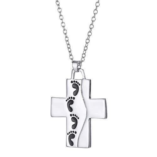 Vektenxi Männer Frauen Kreuz Anhänger Baby Fußabdrücke Brief Geschnitzte Gebet Halskette Schmuck Langlebig und Nützlich