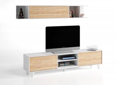 Piushopping - design parete attrezzata con mobiletto tv e mobile sospeso bianco e rovere arredamento moderno casa soggiorno sala da pranzo ambiente unico