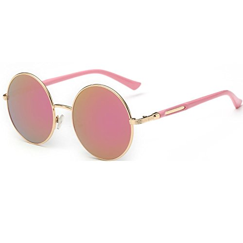linyuan 601Mujer Lente redonda gafas de sol retro classic funda ríg