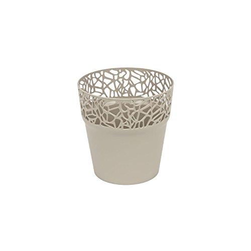 Rond cache-pot 12 cm NATURO plastique romantique style en mocca