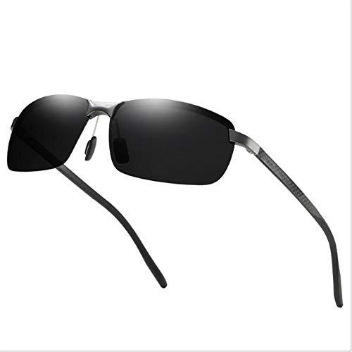 KYS Klassische Retro Quadrat Sonnenbrille Polarisierte Sonnenbrille Carbon Fiber Spiegel Sport Sonnenbrille UV400 Unisex (Color : Black)
