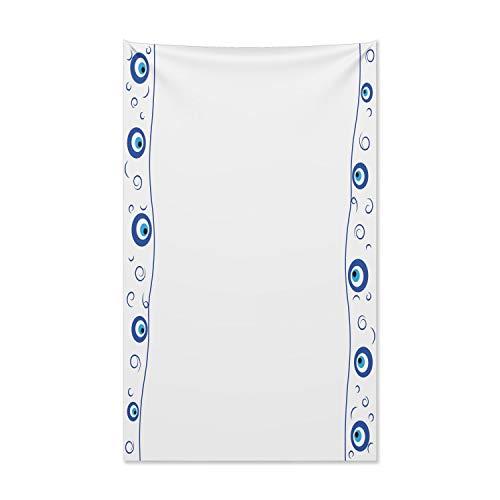 ABAKUHAUS Evil Eye Wandteppich und Tagesdecke, Border Design Spiralen aus Weiches Mikrofaser Stoff Kein Verblassen Klare Farben Waschbar, 140 x 230 cm, Hellblau Weiß Blau