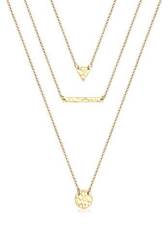 Elli Damen-Kette mit Anhänger Rechteck Kreis Geo Layer Dreieck 925 Silber 40 cm - 0104650517_40