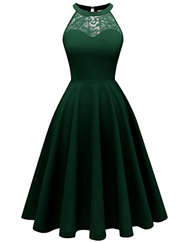bbonlinedress Damen Cocktailkleid Abendkleider Rockabilly Retro Vintage Neckholder Dark Green L
