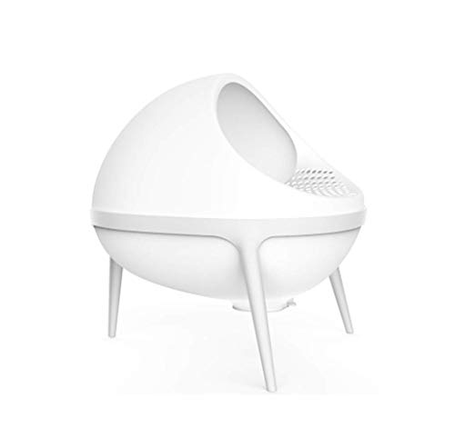 IF.HLMF Planet Large Cat Litter Tray, Semi-Closed Litter Box, Clear Filter, Self-Cleaning, Pet Toilet (Color : White)