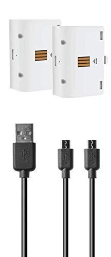 snakebyte Xbox One BATTERY:KIT - weiß - 2 Akkus à 800mAh - kompatibel mit allen Xbox One Controller Varianten & snakebyte Twin Charge X Ladestation - inkl. 2m Y-Ladekabel