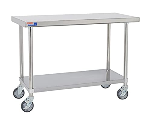 Mobile stainless steel table 1800mm flat top no upstands.