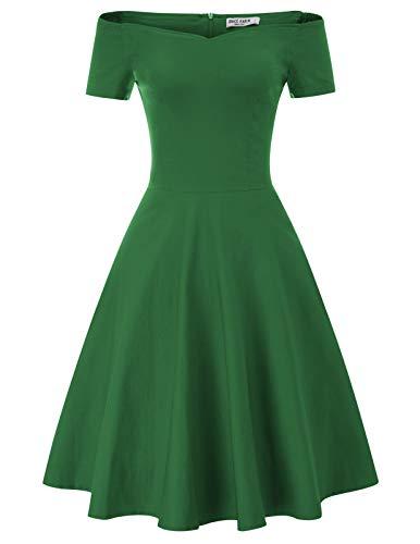 GRACE KARIN grün Kleid Winter Vintage Kleid Damen Weihnachten Rockabilly Kleider CL020-3 2XL