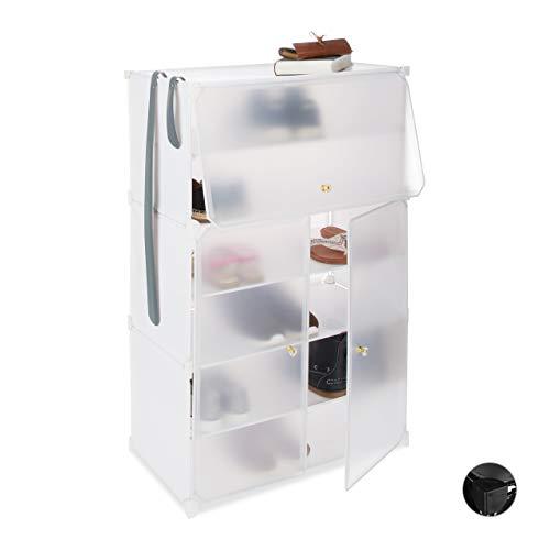 Relaxdays Zapatero Modular con 6 Compartimentos, Plástico, Blanco, 94 x 61.5 x...