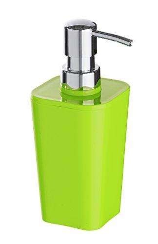 WENKO 20324100 Seifenspender Candy Green - Flüssigseifen-Spender, Fassungsvermögen 0.33 L, Polystyrol, 8.8 x 17.4 x 7.3 cm, Grün