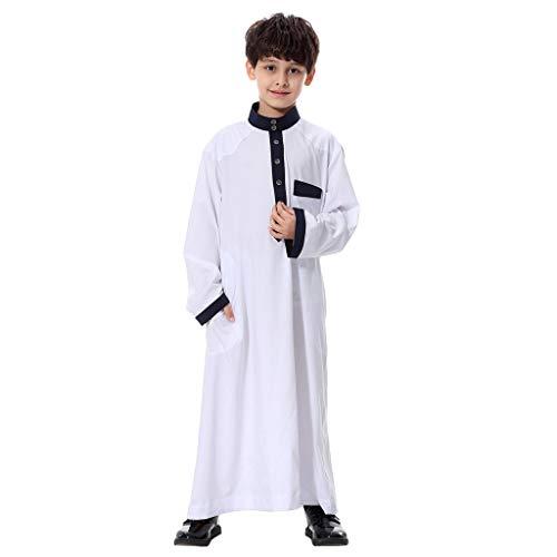 feiXIANG Jungen Muslim Robes Islamic Maxi Kleider Arabisch Langarm Islamische solide Dubai-Robe Kind Bekleidung ()