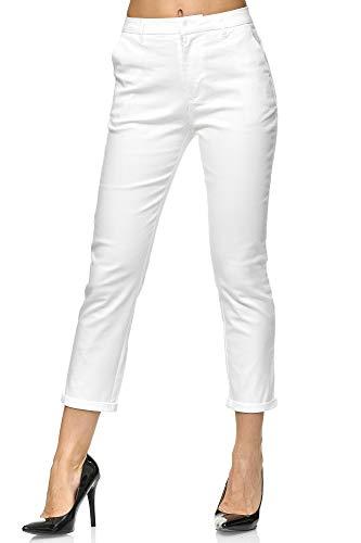 Elara Damen Chino Hose | Slim Fit | Schicke Stoffhose | Chunkyrayan VS19026-2 White-42 - Leichte Stretch-leggings
