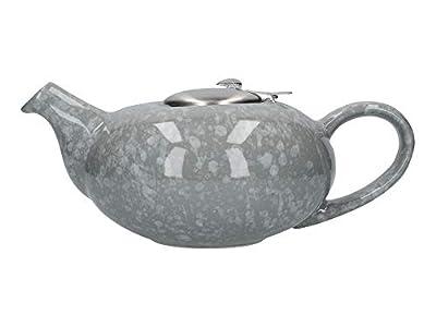 London Pottery Théière avec infuseur pour thé en vrac Gris brillant 4 tasses (1 litre)