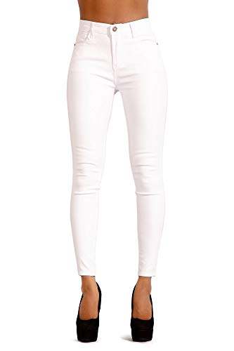 3753ea45c566 Glook Womens Black Leather Look Trousers High Waist Slim Fit Skinny Butt  Lifting Jeans (6, White) - £20.00