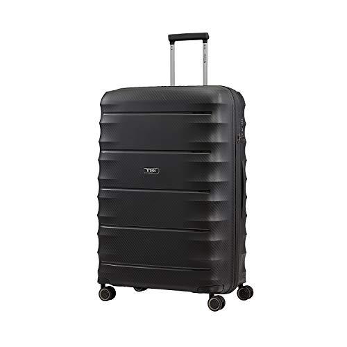 """TITAN Super Leichter Hartschalenkoffer \""""Highlight\"""" in 4 Größen im Carbon Look, Handgepäck mit Vortasche Koffer, 75 cm, 107 Liter, Black"""