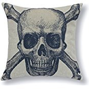 B Lyster shop Blend Midnight Navy Bone Skull Cotton & Polyester Soft Zippered Cushion Throw Case Pillow Case Cover