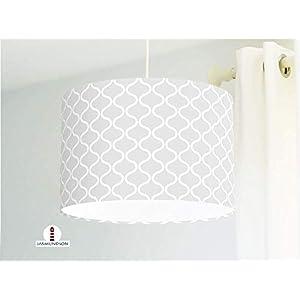 Lampe handgemacht mit Muster skandinavisch in Grau Deckenlampe Hängelampe