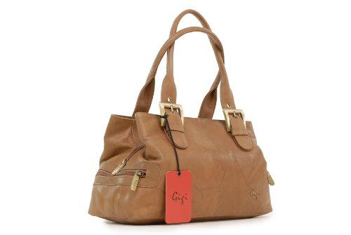 """Handtasche Leder """"Othello"""" von Gigi - GRÖßE: B: 30,5 cm, H: 17,5 cm, T: 13,5 cm Honig (Hellbrun)"""