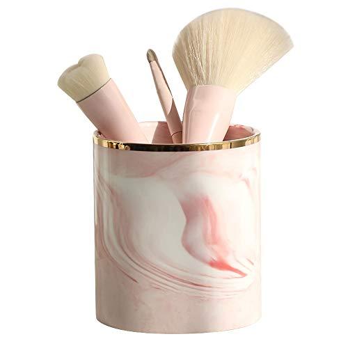 HongTeng Nordic Make-up Pinsel Aufbewahrungsröhre Marmor Aufbewahrungsbox Essstäbchen Fass Stift Keramik 8,5x10cm (Color : Pink) -