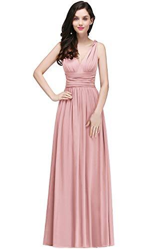 MisShow Damen Elegant Chffion Kleid Brautmutter Kleid Maxi Festkleid lang Nude Rosa 42 (Rosa Für Kleider Frauen)