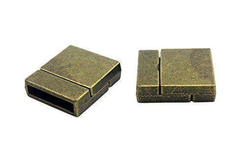 aaazee 6Stück 15mm Loch Innen matt Farbe gebogen Magnetverschlüsse 15mmx3mm hole antique bronze