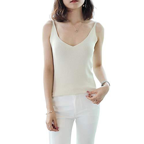AFFEco Solid Knit Tops Damen Sommer V-Ausschnitt Sleeveless Slim Weste Camisole (Beige) -