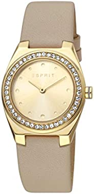 Esprit Spot Champagne Dial Leather Analog Watch For Women ES1L148L0025