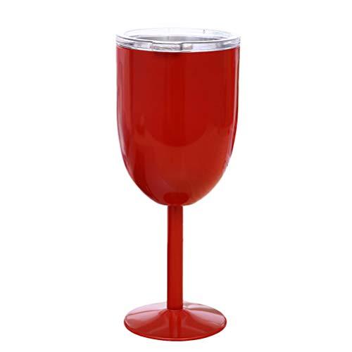 Vosarea Edelstahl Weingläser Doppelwandig Isoliert Weinkelche mit Deckel (Rot)