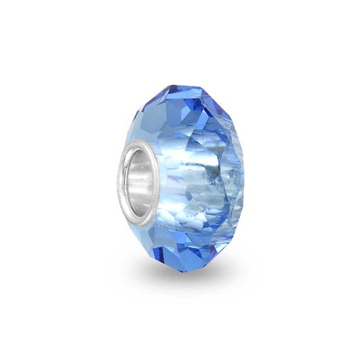 Traslucido In Vetro Di Murano Azzurro Cordone Di Fascino Per Donne Si Inserisce Braccialetto 925 Sterling Argento