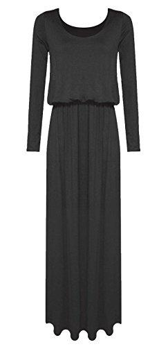 Janisramone - Robe - Uni - Manches Longues - Femme * taille unique Noir