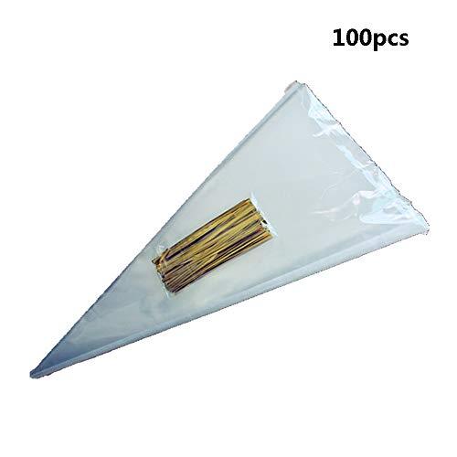 Fliyeong Premium 100 stücke Klar Cellophan Verpackung Tasche Kegel Taschen mit Twist Krawatten Party Geschenk Schokolade Süße Popcorn Halloween Weihnachten Süßigkeiten Tasche
