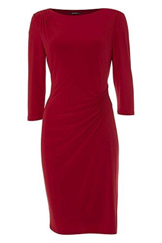 Roman Originals Damen 3/4 Ärmel Plisseefalten Jersey Kleid Rot Rot