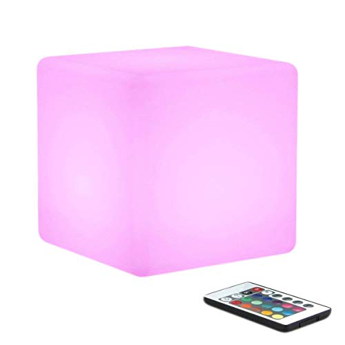 LED Cube Mood/Lampen, muequ USB wiederaufladbar 16RGB-Farbwechsel Nachtlicht LED-Nachttischlampe, 4Modi mit Fernbedienung für Outdoor Garten Dekoration im Innenbereich Modern 15 * 15 * 15cm