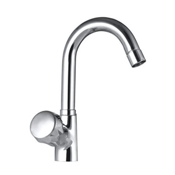 Drizzle Swan Neck Pillar Cock Conty Brass Chrome Plated/Wash Basin Tap / 360 Degree Moving Spout Tap/Bathroom Tap/Quarter Turn Tap/Water Foam Flow Tap