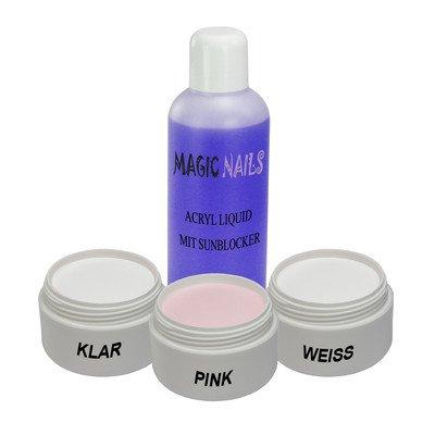Magic Items Acryl SET 3 x Pulver klar,Pink,weiss + 100ml LIQUID